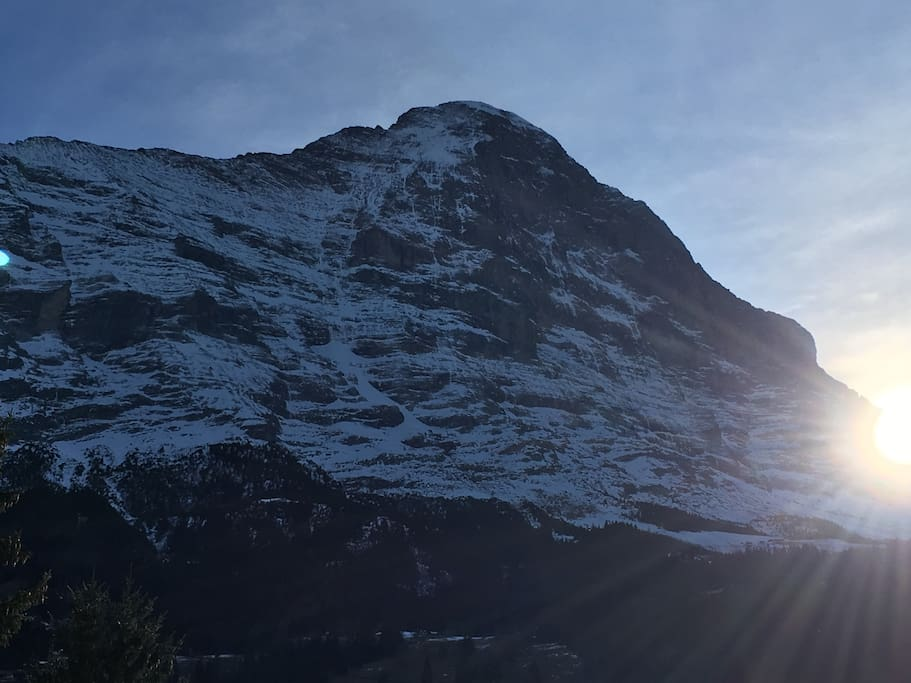 Winter view of the Eiger Nordwand (north face), from terrace