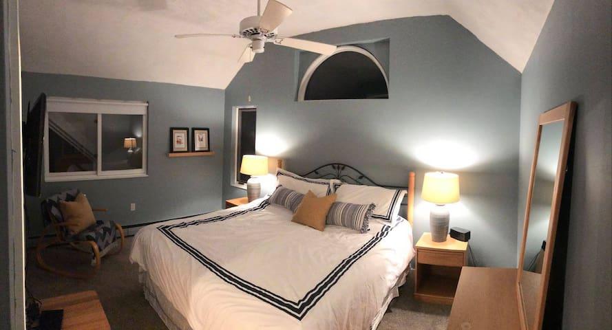 "3rd floor ""Master"" with king bed, en suite bathroom and walk-in closet."