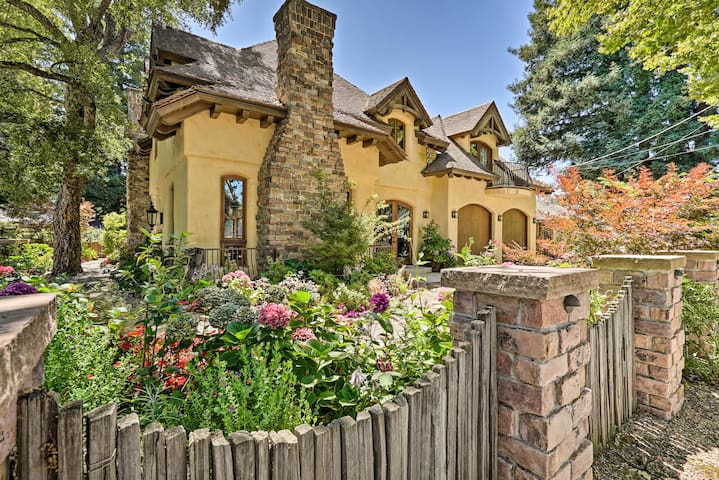 Find verdant landscaping surrounding this property.