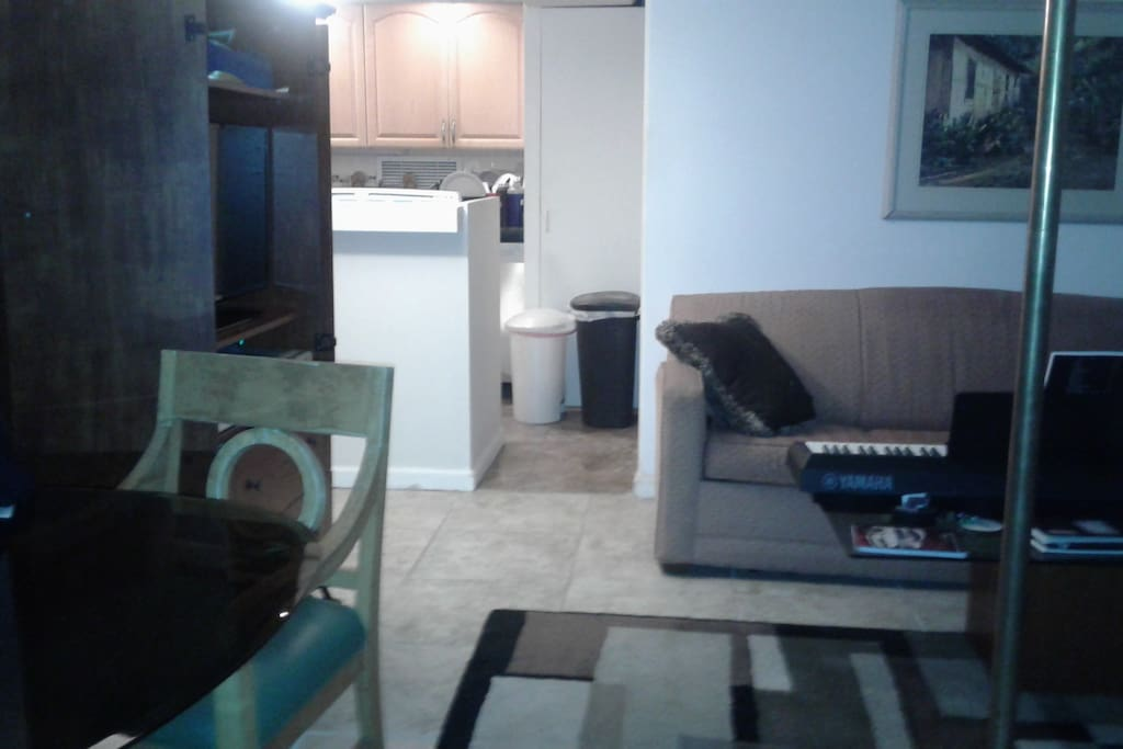 large living room Modern kitchen with washer adn dryer