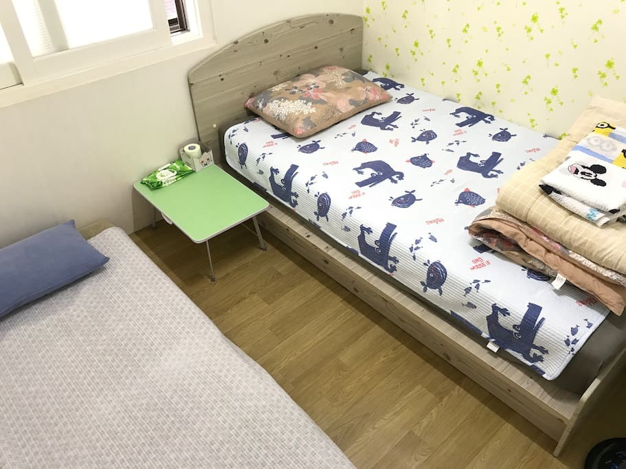 一單人床、一沙發床。 A single bed and a sofa bed.