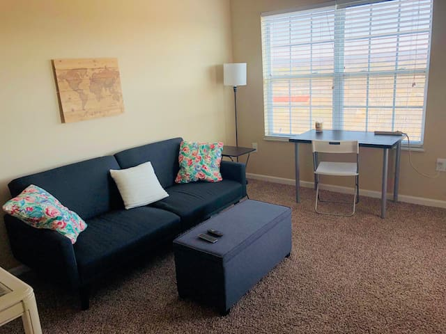 Comfy Futon in Apartment Living Room