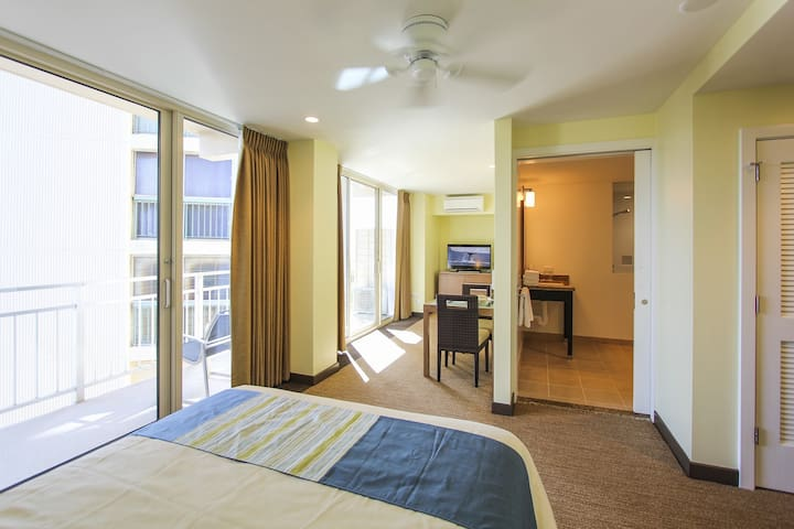Steps to beach, Waikiki's Gold Coast, 1 Queen Bed Accessible at New Otani Kaimana Beach Hotel