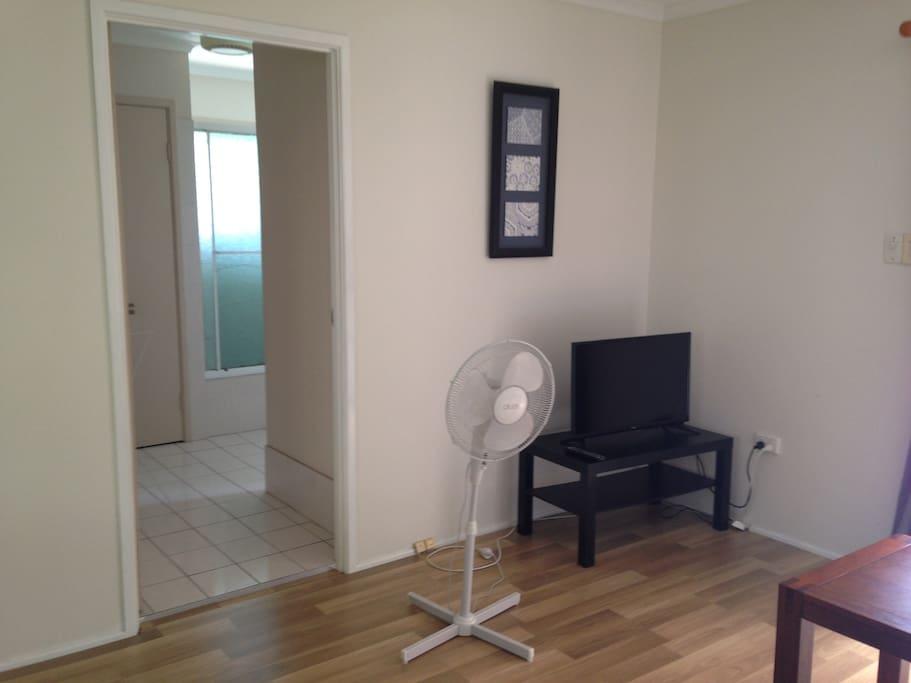 Bathroom through living area