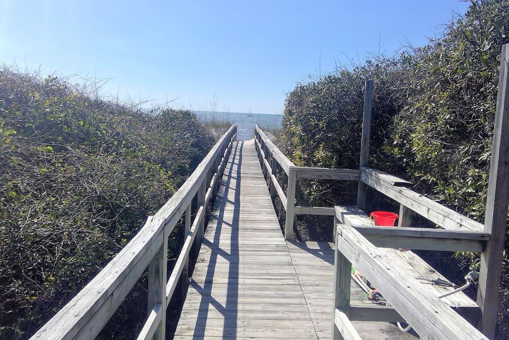 Beach Walkover just steps away
