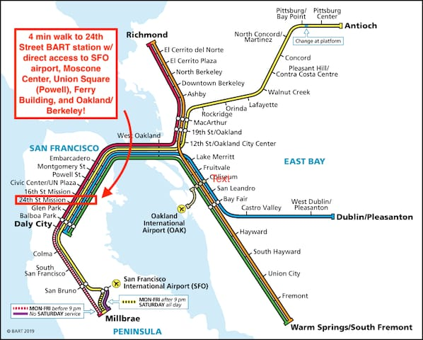 We are a 4 minute walk to the BART subway/train system in San Francisco, which has direct access to SFO Airport, Moscone Center, Union Square, Ferry Building, and Oakland/Berkeley!