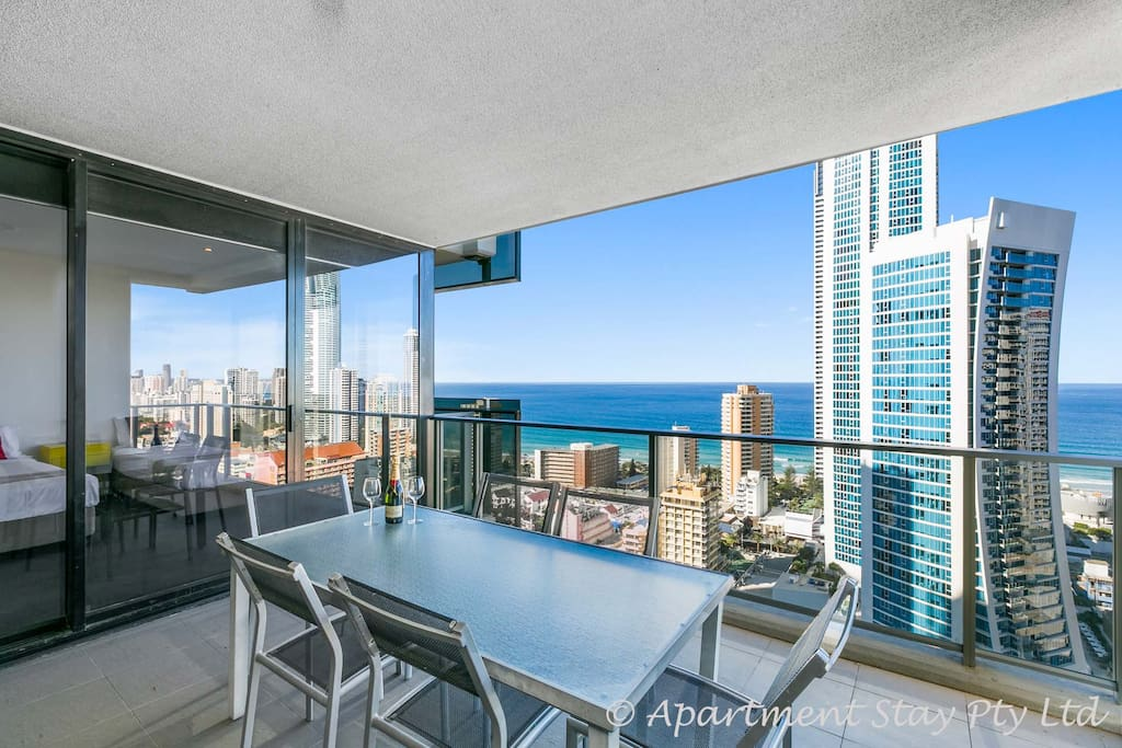 Stunning Circle on Cavill Level 25 apartment 2 bedrooms 2 bathrooms. Oh the enjoyment wine, views, balcony entertainment, city skyline, beach views, night lights,  what can be better