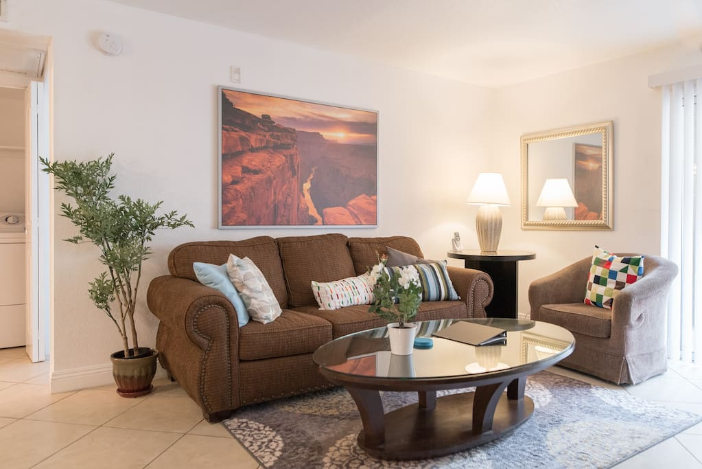 """Newly furnished family room complete with 50"""" Smart TV (Netflix) and cable.   Free North American calling and WiFi."""