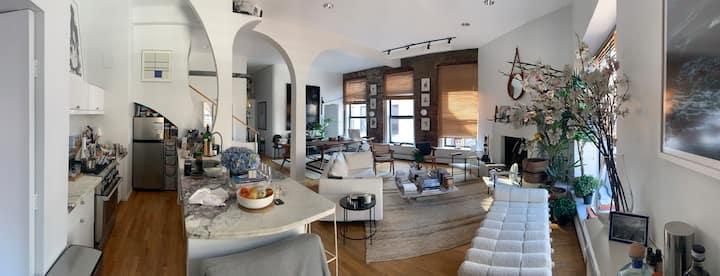 Luxury 1,400 sq ft Noho loft: fireplace & terrace