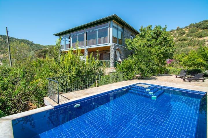 KAYA407-Fethiye Kayaköy 3 bedroomed Villa withpool - Kayaköy - Casa de camp