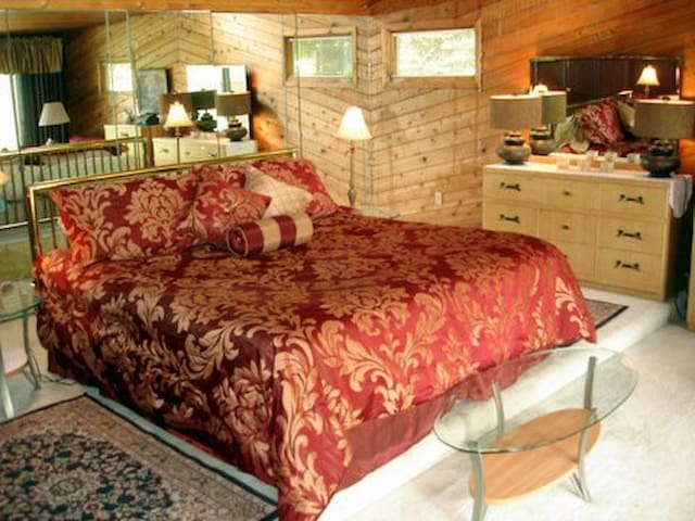 King sized bed faces window wall overlooking marsh. There is a 1/2 bath and a twin sleep chair