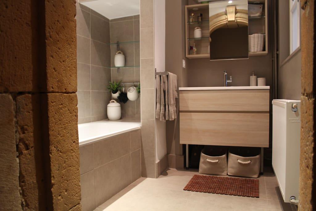 Salle de bain avec voute en pierre classée monument historique dans le vieux Lyon