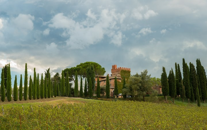 4 rooms in ancient tower near Montepulciano