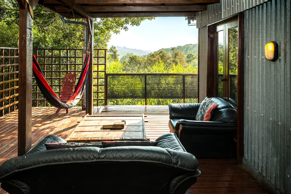 Floating tree house deck with hammock