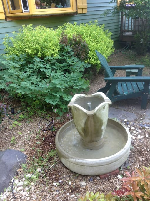 Fountain in front garden by master suite