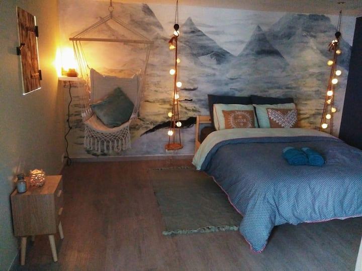 Chambre confortable comme un cocon avec jardin