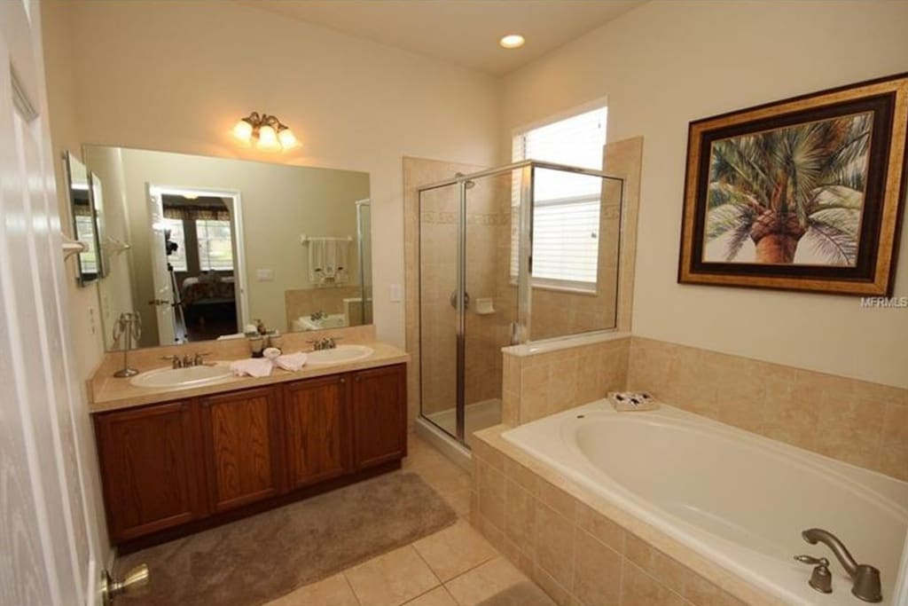 bathroom are with double sink, bath and shower