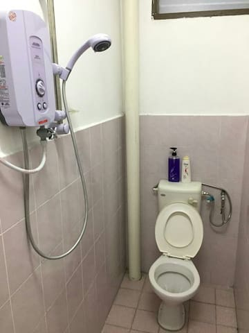 Toilet with hair shampoo and body wash provided
