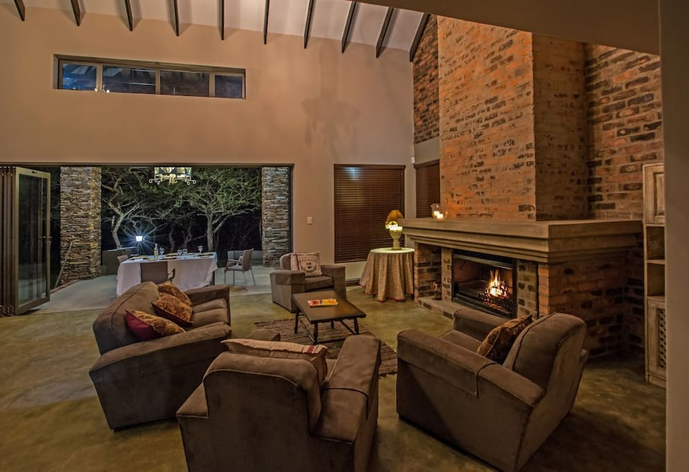 Spacious living area with a cosy fire place