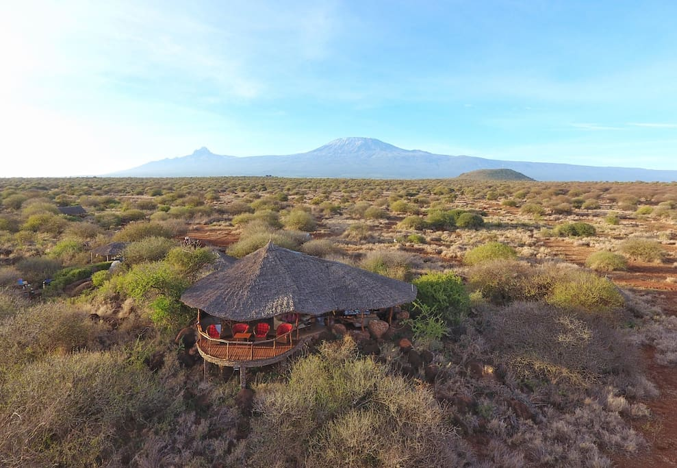 The camp offering spectacular views of Amboseli and Mt Kilimanjaro