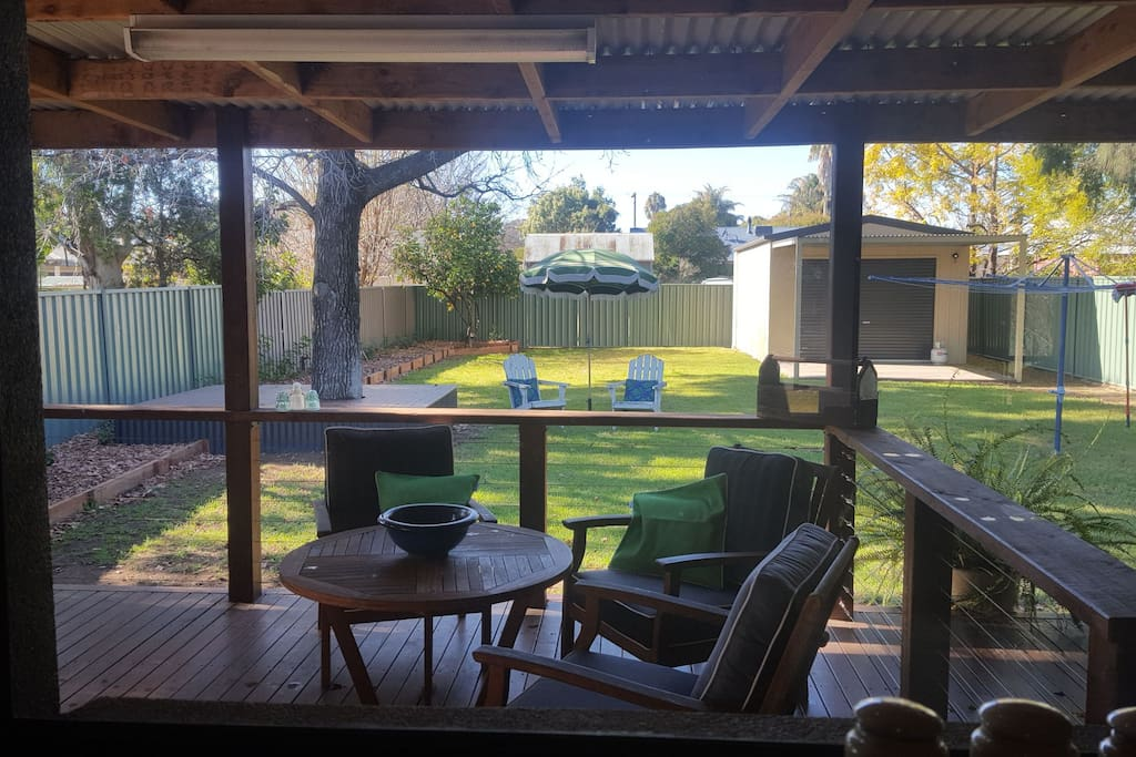 View from your kitchen window into the secluded back yard.