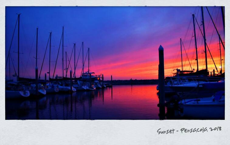 Beautiful sunset at the harbor.