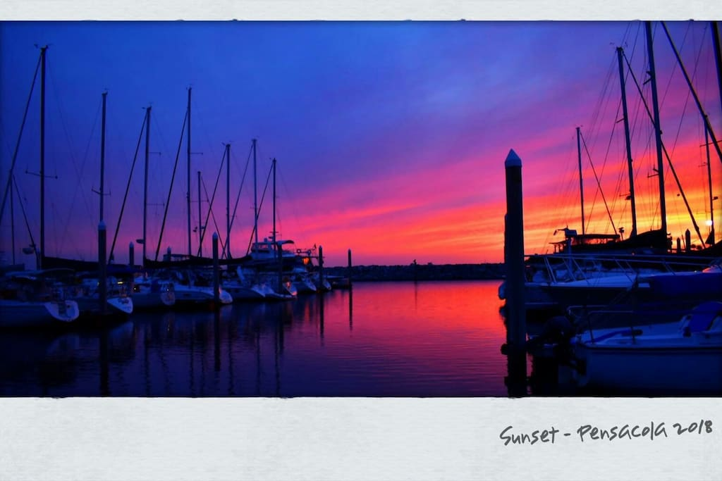 beautiful sunset at the harbor.