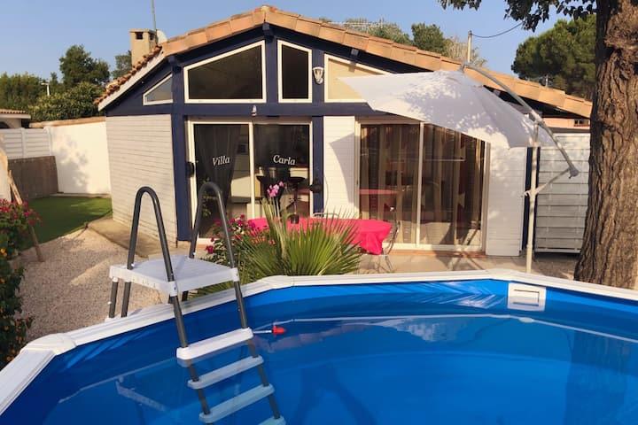 Villa F2 indép, piscine privée, clim, plage, calme