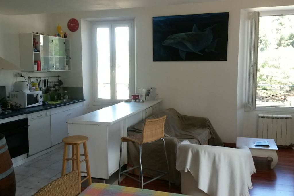 Le salon avec cuisine intégrée