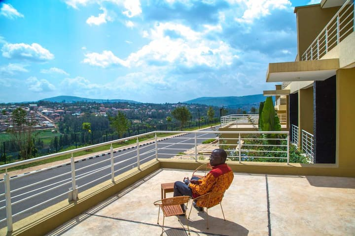 Another caption of the private balcony. Great place to sit and enjoy the afternoon air breeze in Kigali