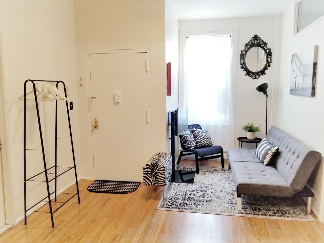 Entrance & Living Room (sofa bed)