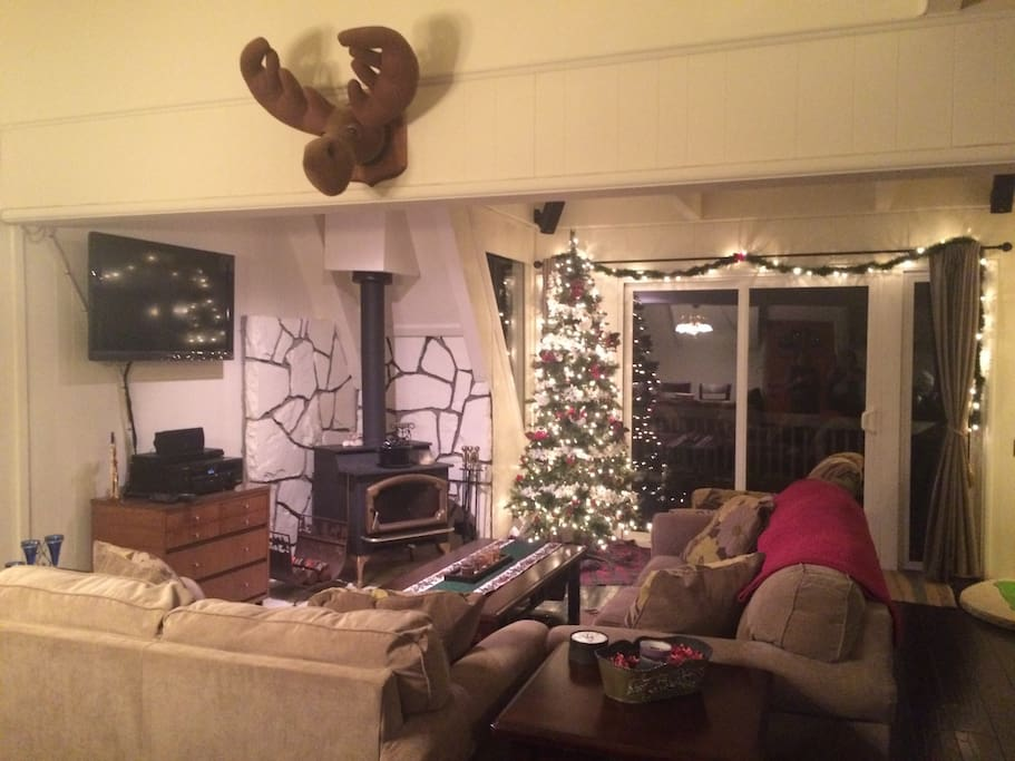 Cozy family area with a touch of Christmas spirit.