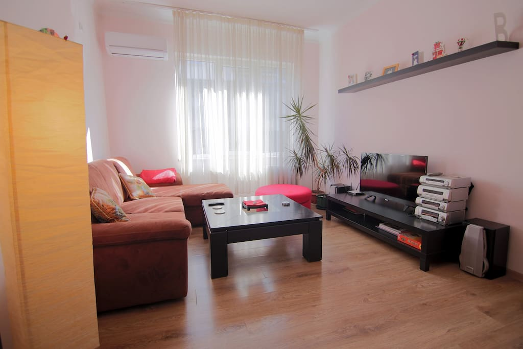 Our cozy living room with sofa bed will make you feel just right at home