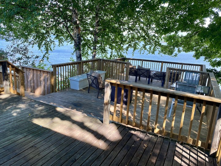Relax on the deck overlooking Munising Bay!