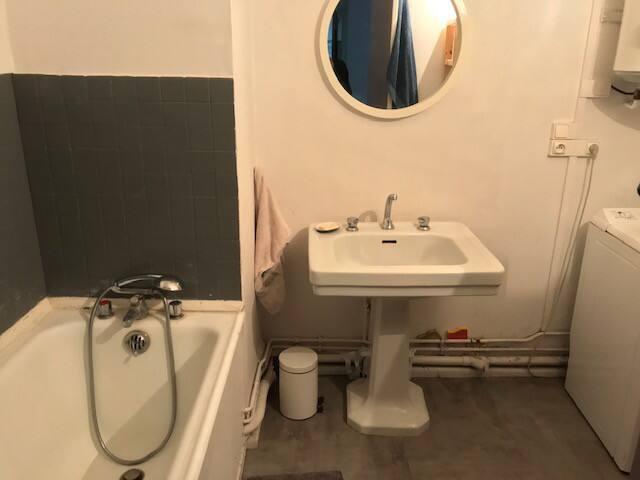 Confortable salle de bain avec machine à laver baignoire a disposition
