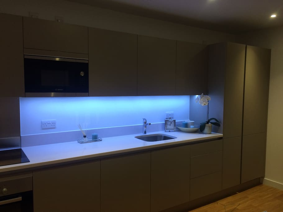 Large kitchen with oven, hob, microwave and in built fridge