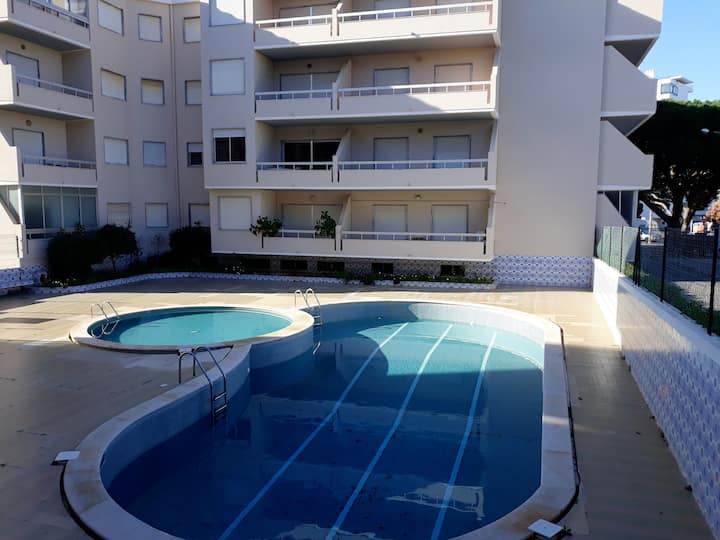 Apartment with 2 bedrooms in Quarteira, with shared pool and furnished balcony - 200 m from the beach