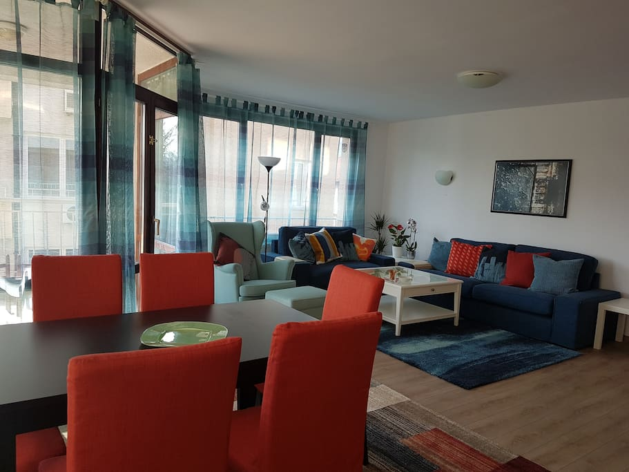 The spacious 32 m² living room