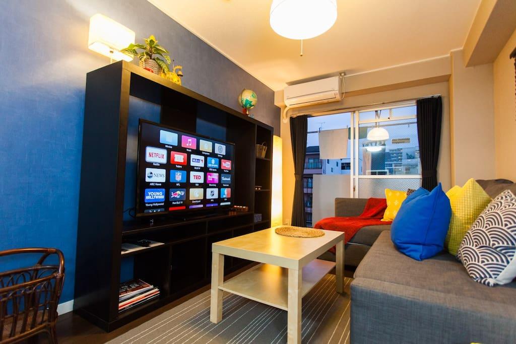 Beautiful TV area NETFLIX and chill