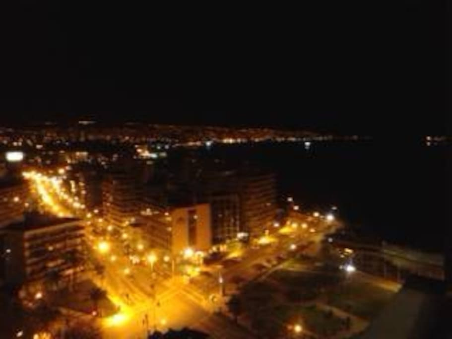vista nocturna bahía de Valparaíso