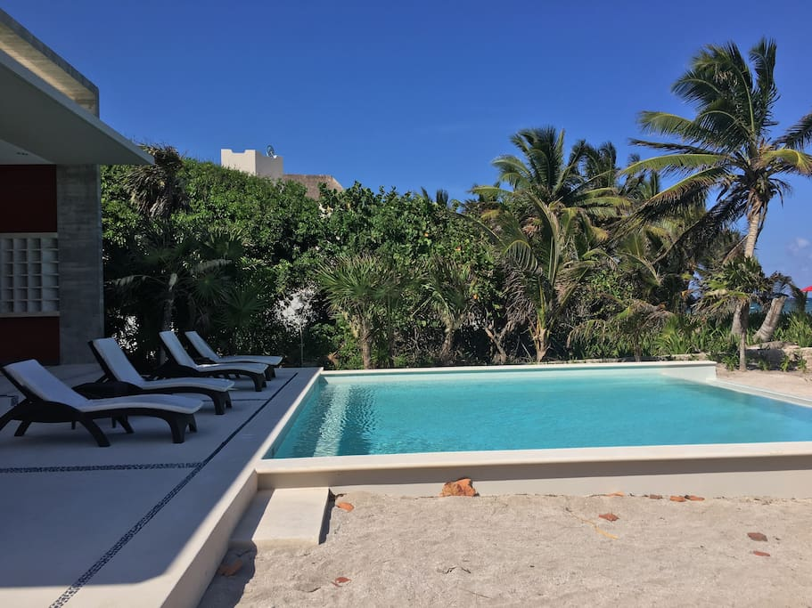 Terrace & Pool at Tao Beach Club  (steps away from the rental home)