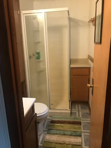 Bathroom with standing shower.