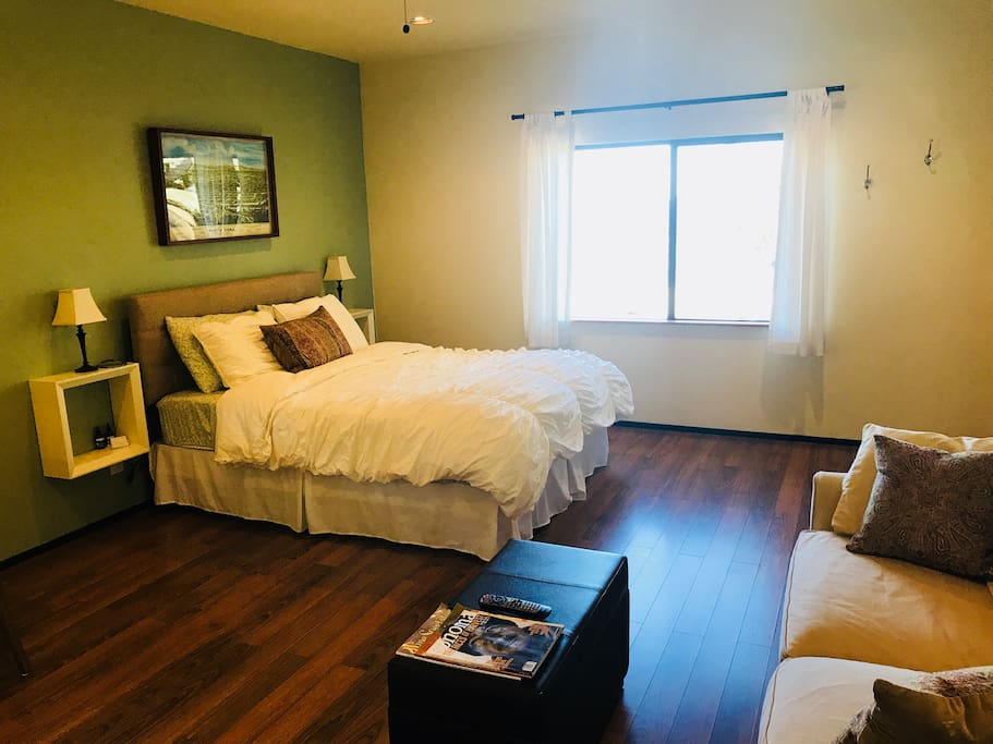 Spacious studio with Full Queen Bed and fold out sleeper couch, full bath and kitchenette.