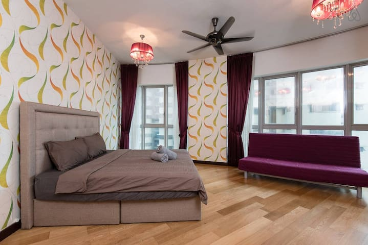 Spacious master bedroom that can sleep up to 6 persons with sofa bed and air mattress.