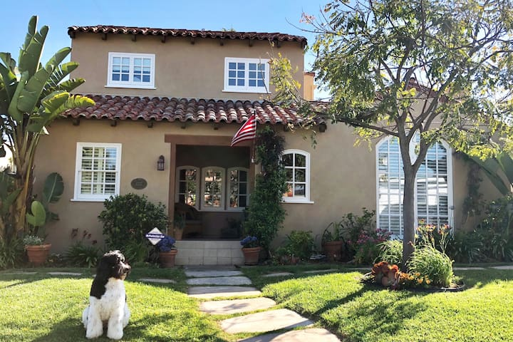 Our home in Loma Portal, Point Loma. Situated in the middle of the block on a street with historic, family homes.    (Dog not included.)