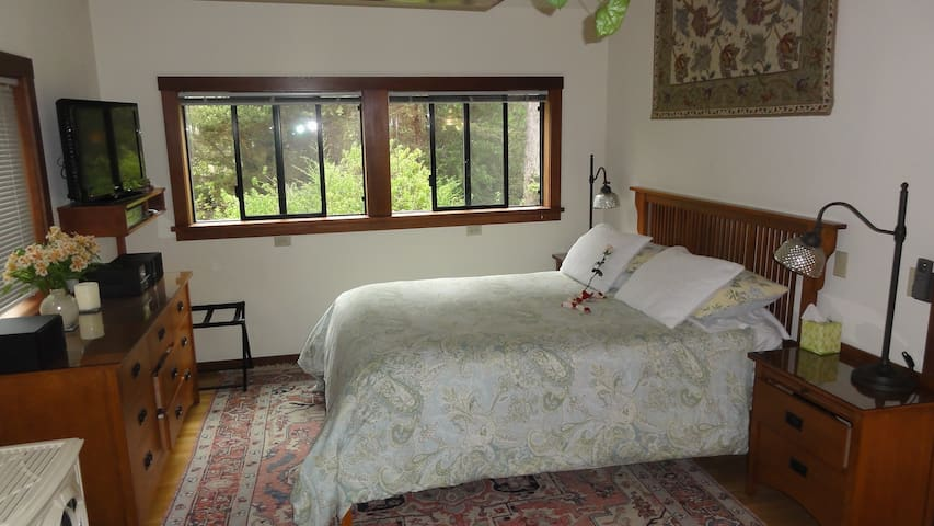 Comfortable Queen Bed with new mattress, memory foam topper, nice linens, down comforter (or alternative) and comforter cover and six pillows!