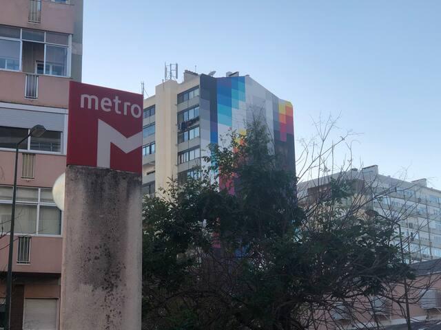 4 min walk, to metro station.