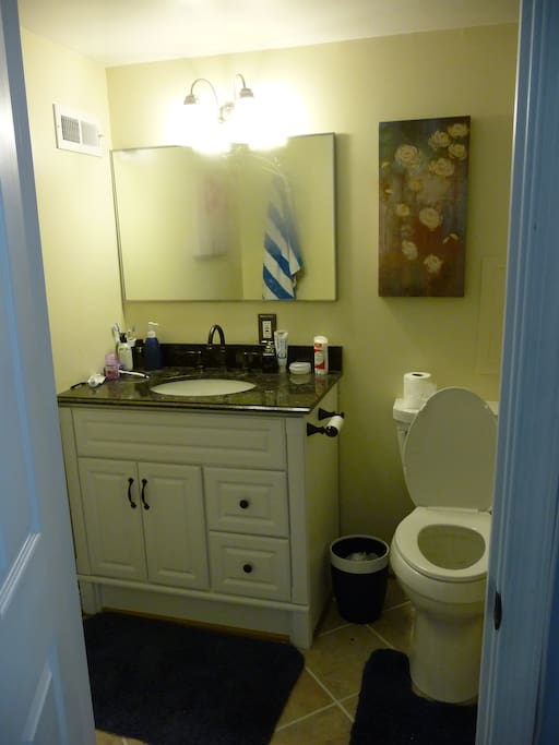 This is the one side of the second bathroom you can use as a private bathroom if you're more comfortable. It's located on the basement floor.