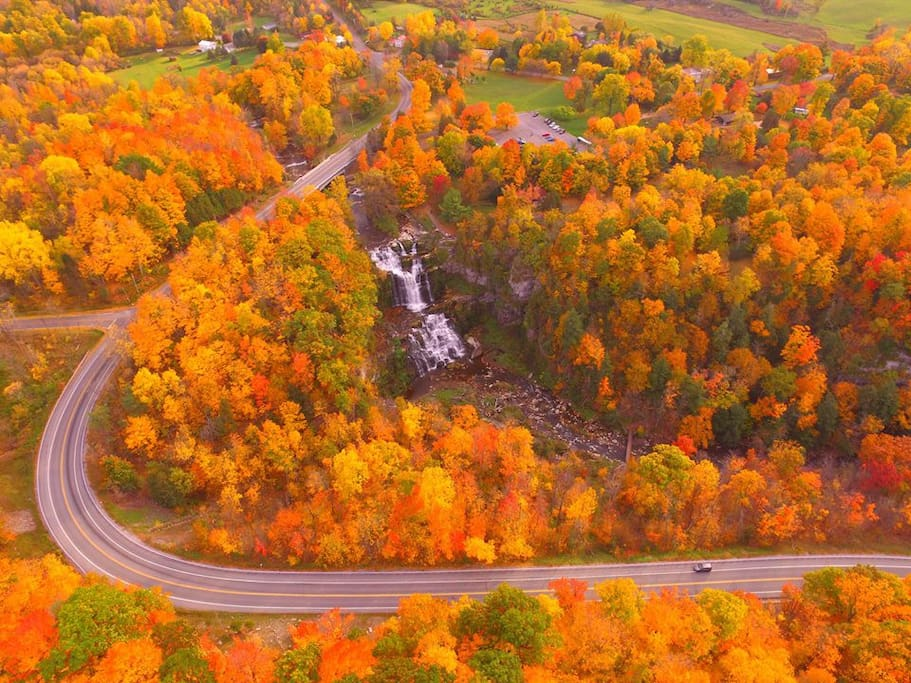 Chittenango Falls during peak foliage 10/19/2016!  (You can see my property at the top of this photo.)