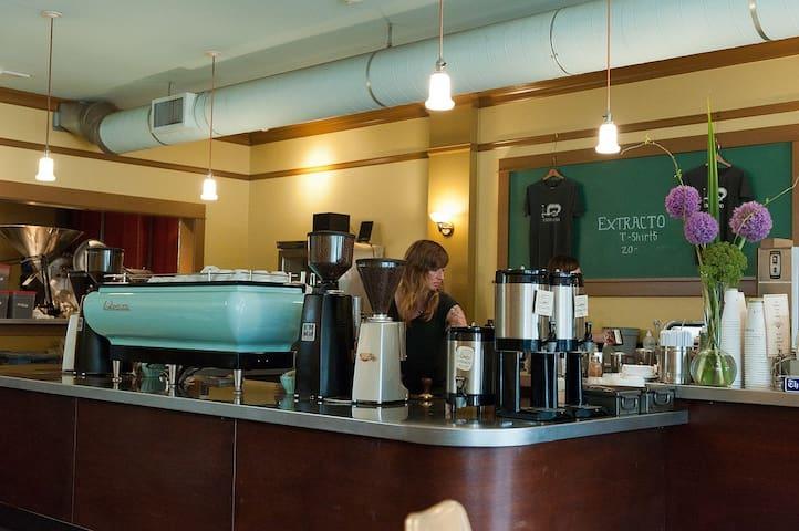 Our neighborhood coffee shop, Extracto.